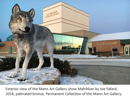 Fafard Wolf Sculpture outside the Mann Art Gallery